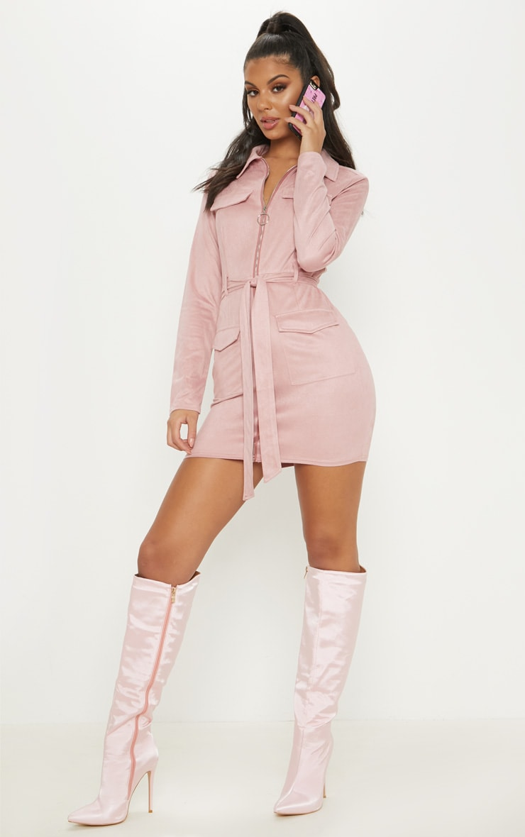 Rose Pink Faux Suede Pocket Detail Bodycon Dress 4