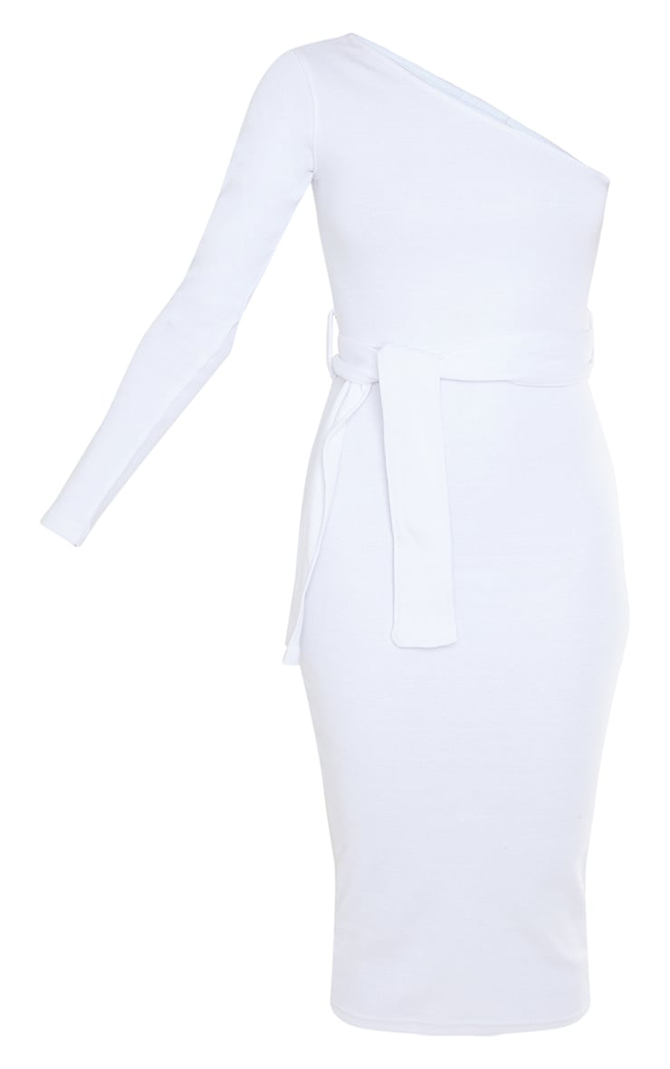 White Thick Rib One Shoulder Tie Waist Midi Dress 5