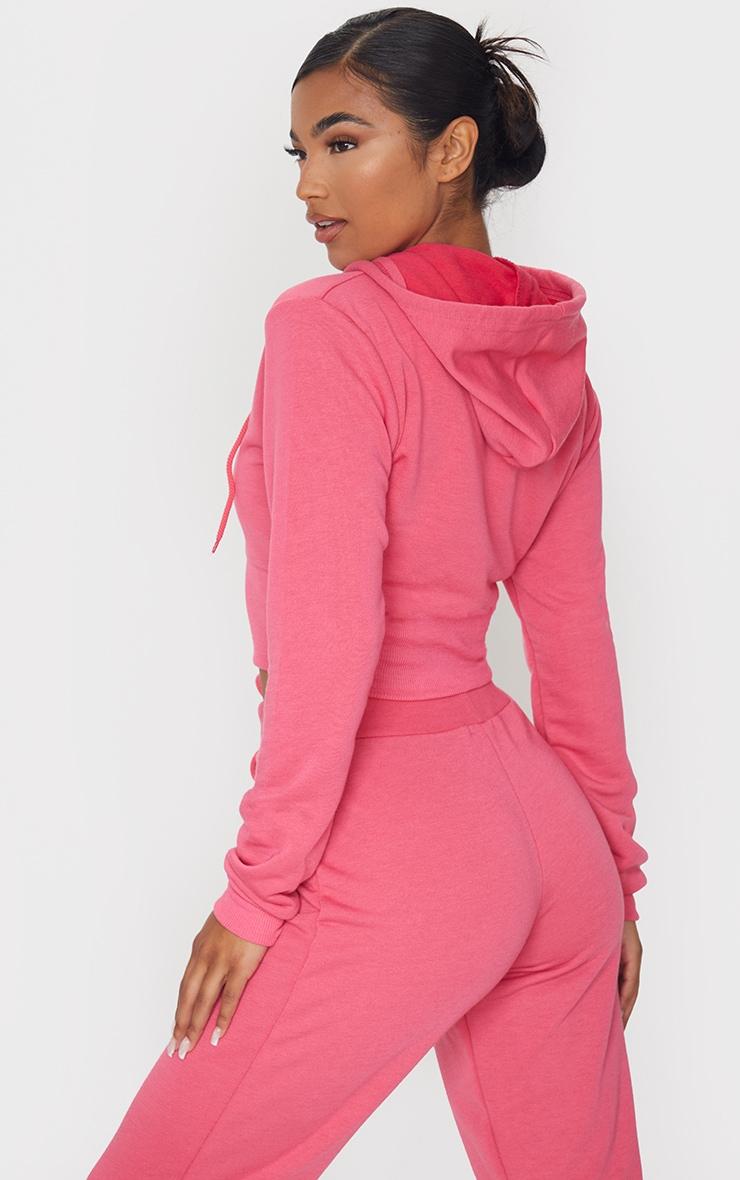 Hot Pink Zip Up Bustier Hoodie 2