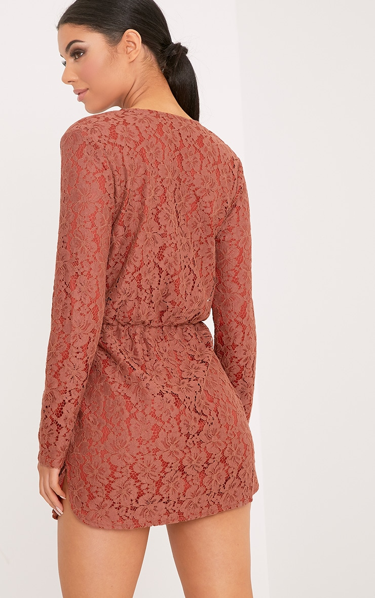 Dottie Tobacco Lace Twist Front Shift Dress 2