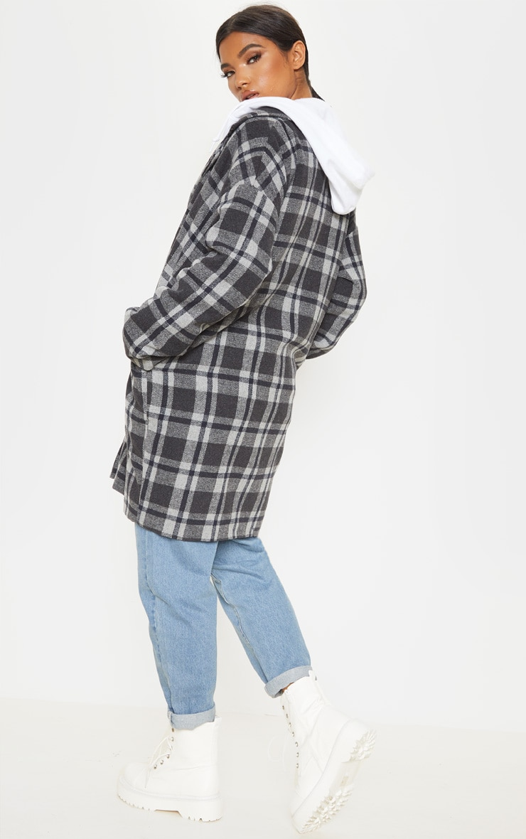 Charcoal Checked Oversized Coat 2
