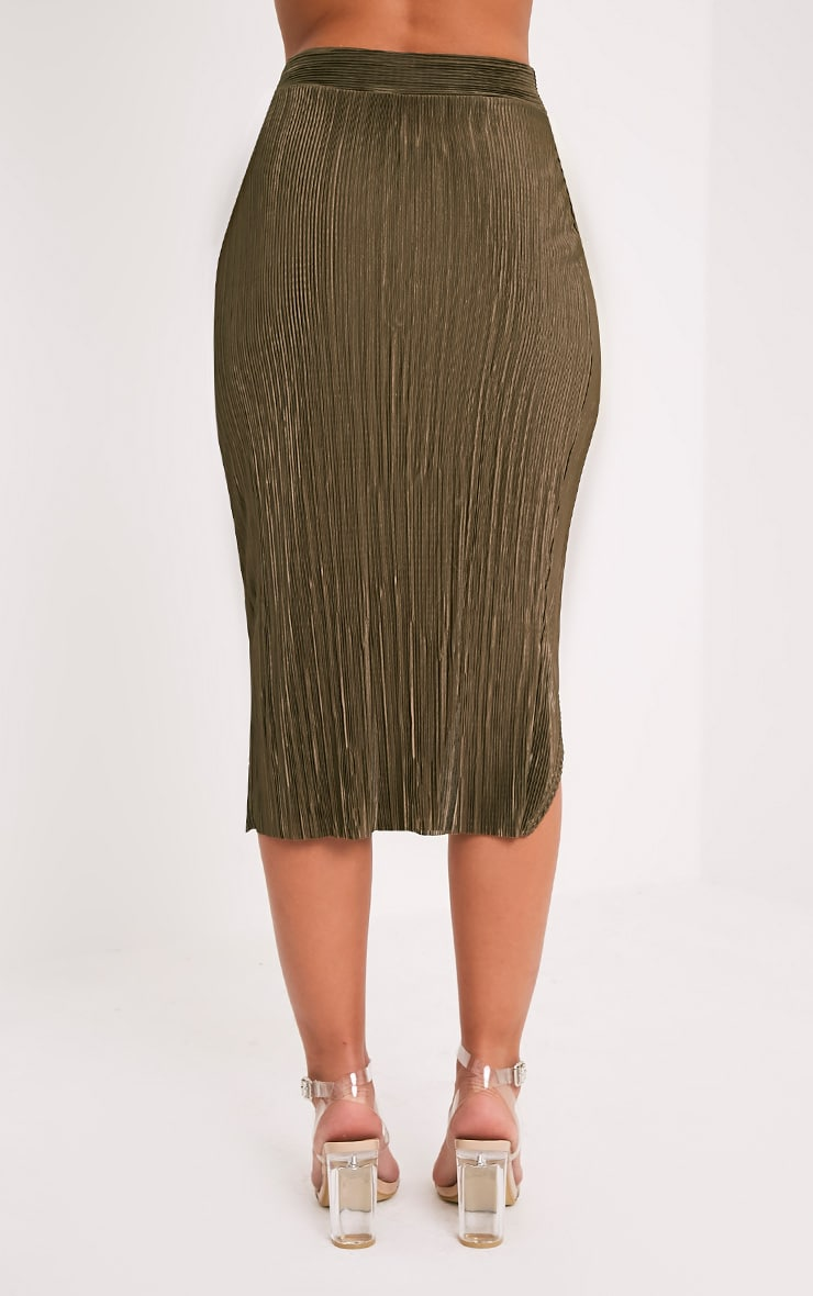 Leola Khaki  Pleated Wrap Midi Skirt 5