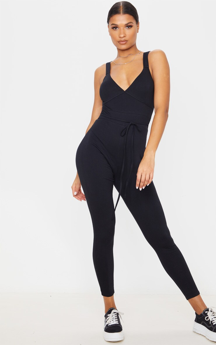 Black Binding Tie Waist Jumpsuit 4