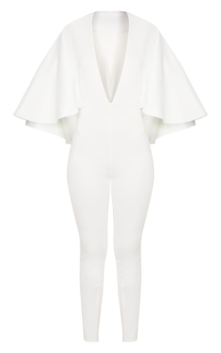 White Plunge Cape Jumpsuit 3