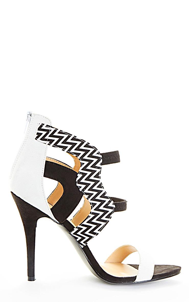 Coni Monochrome Aztec Contrast Suedette Heeled Sandal 5