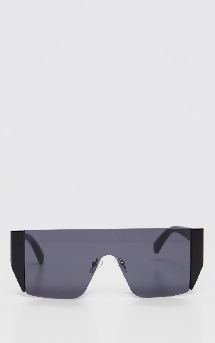 Black On Black Frameless Oversized Sunglasses            2