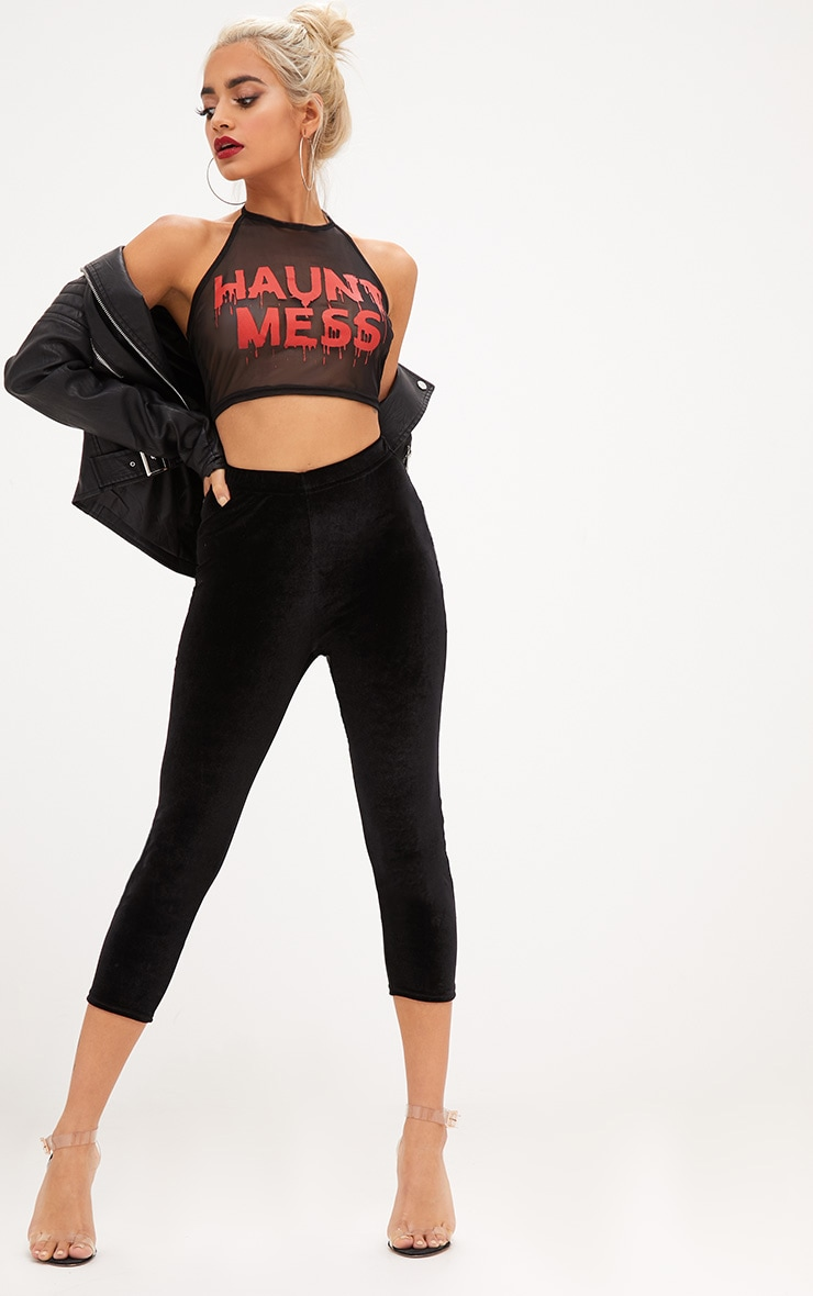 Haunt Mess Slogan Black Mesh Crop Top 4