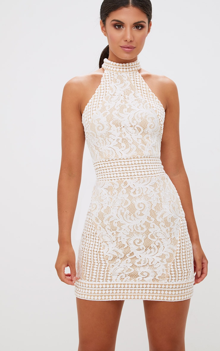 White High Neck Lace Crochet Bodycon Dress