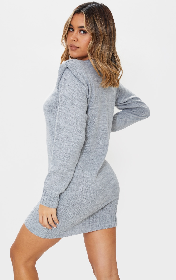 Grey Shoulder Pad Knitted Sweater Dress 2