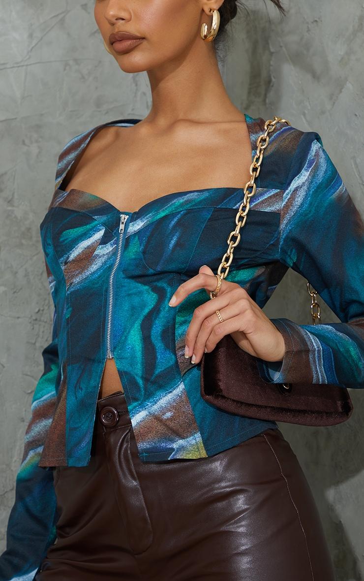 Green Abstract Print Woven Long Sleeve Zip Front Corset Top 4