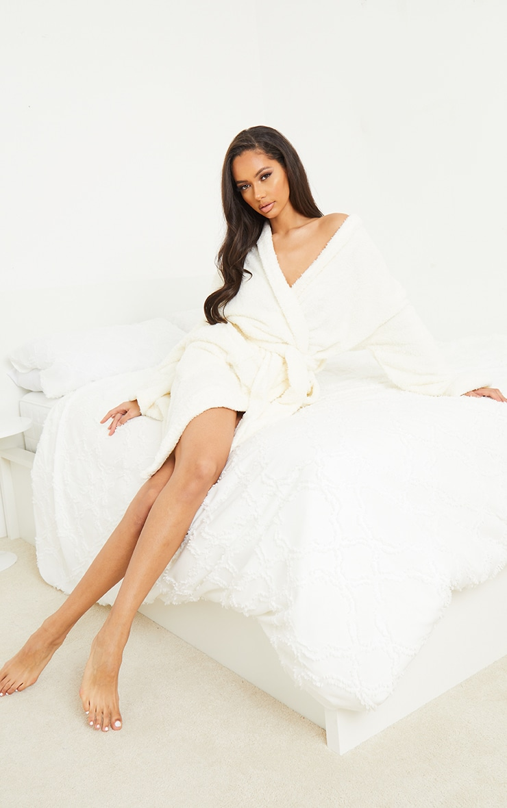 White Oversized Fluffy Dressing Gown 1