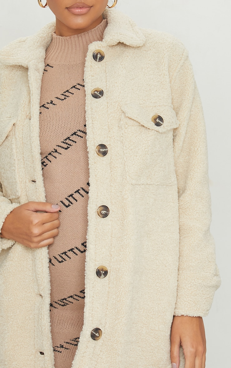 Cream Borg Pocket Button Up Shacket 4