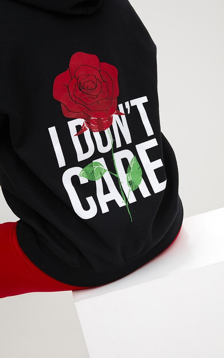 Black I Don't Care Slogan Back Oversized Hoodie 6