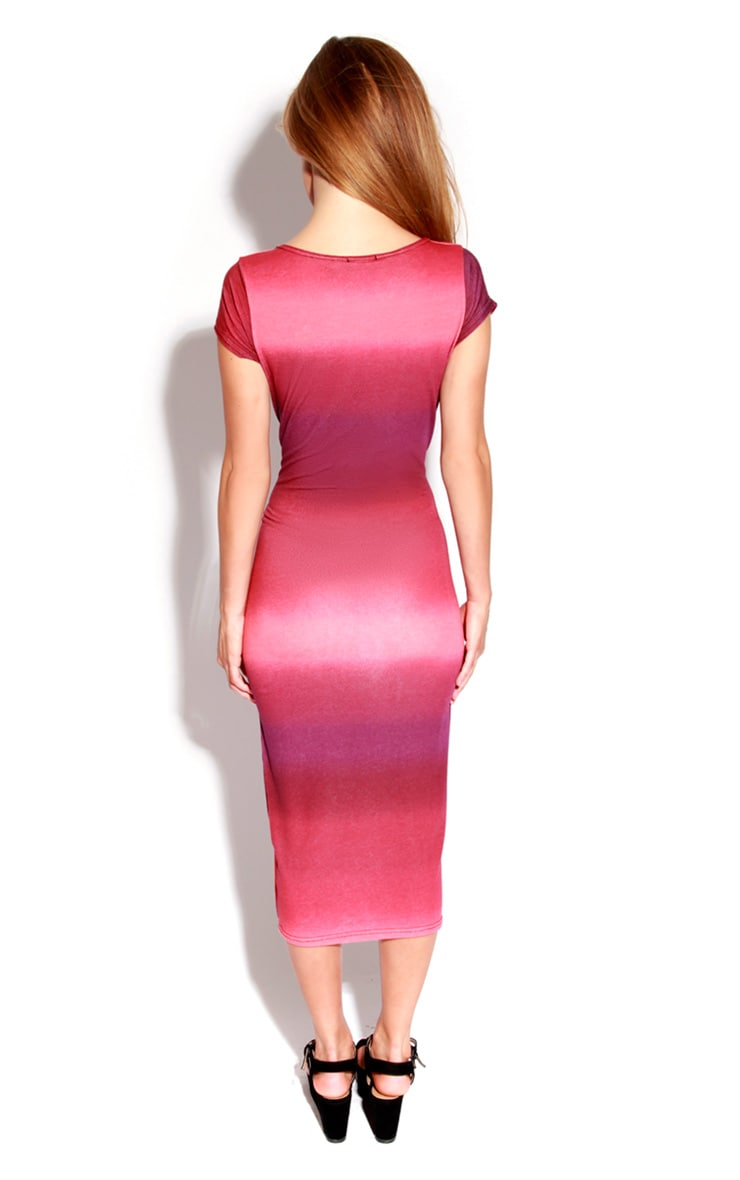 Viki Red Dip Dye Cap Midi Dress 3