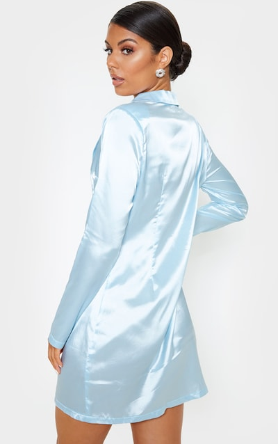 Baby Blue Satin Blazer Dress