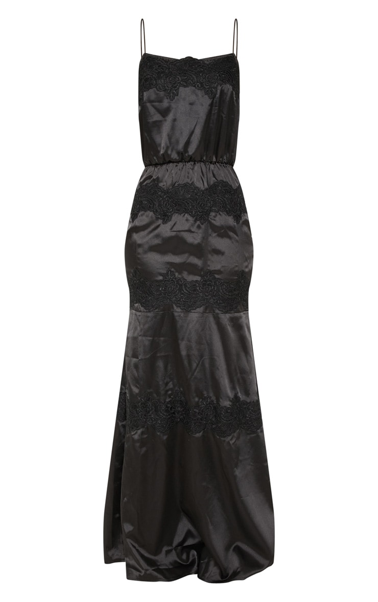 Black Lace Trim Satin Tiered Maxi Dress 3