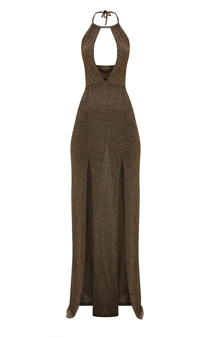 Gold Glitter Lurex Halterneck Maxi Dress 3