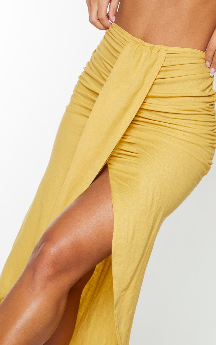 Yellow Knot Front Wrapped Sarong 4