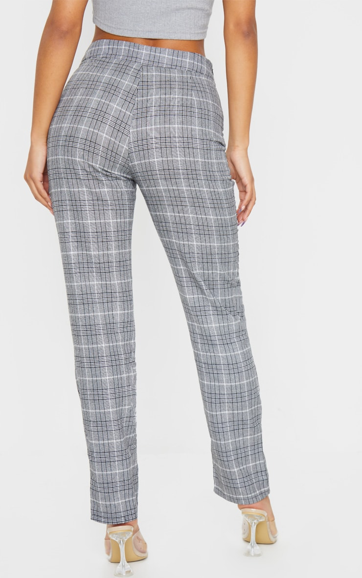 Grey Check Print Straight Leg Suit Trouser 5