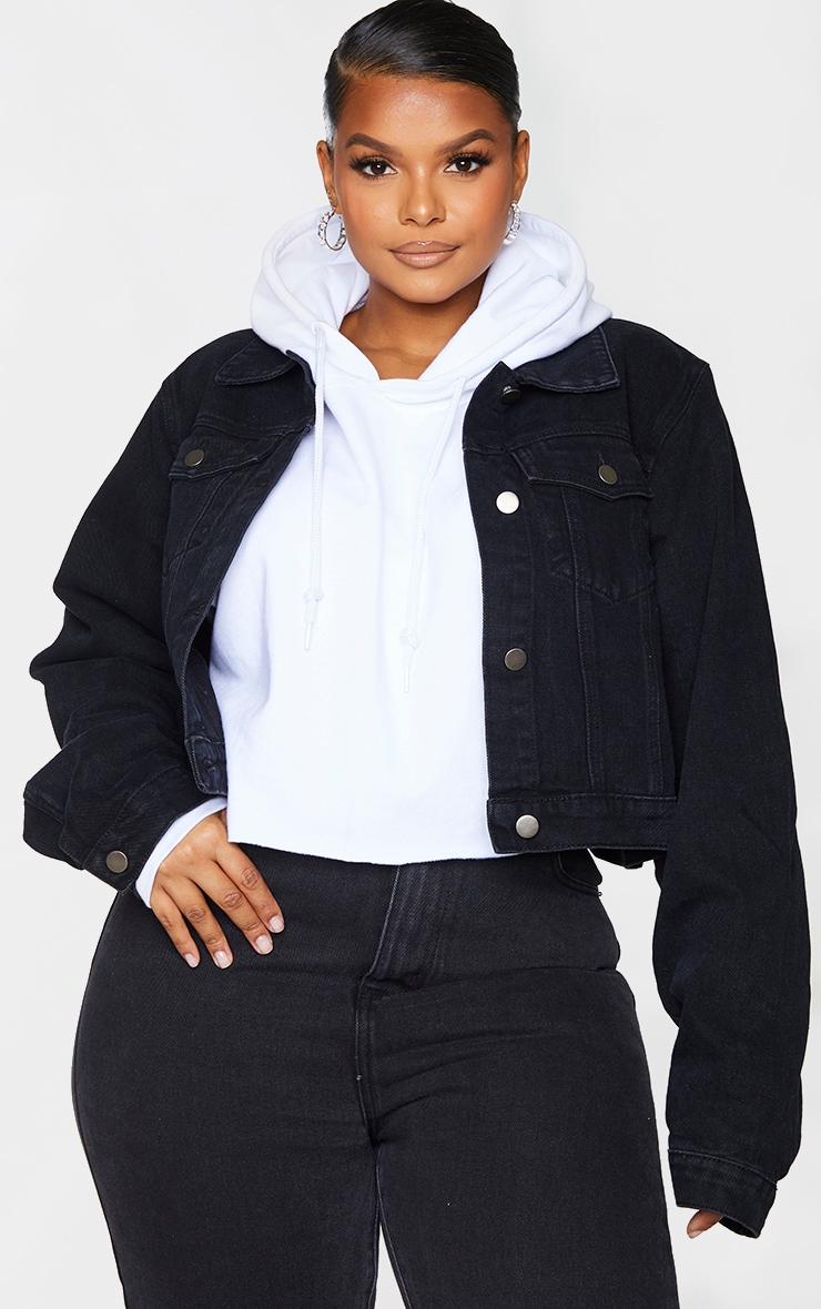 PRETTYLITTLETHING Plus Black Cropped Denim Jacket 3