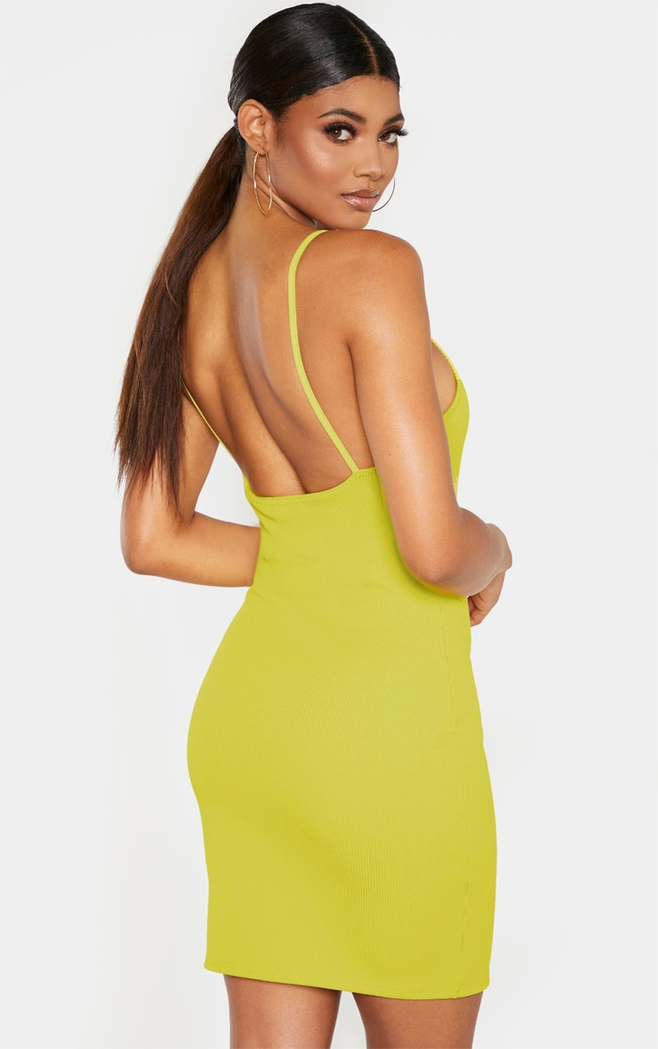 Tall Chartreuse Strappy Bodycon Ribbed Dress 2