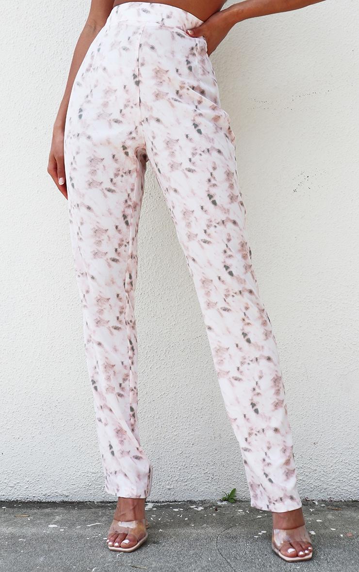 Light Pink Tie Dye High Waisted Straight Leg Trousers 2