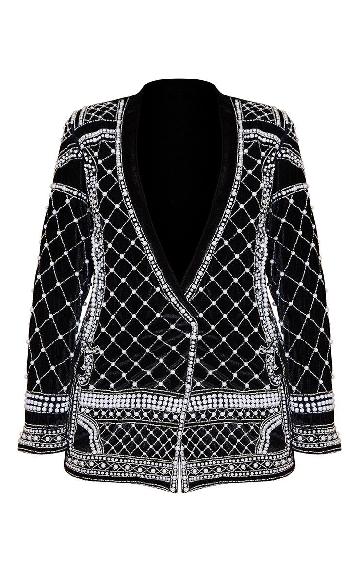 Premium Black Velvet Embellished Beaded Oversized Blazer 3