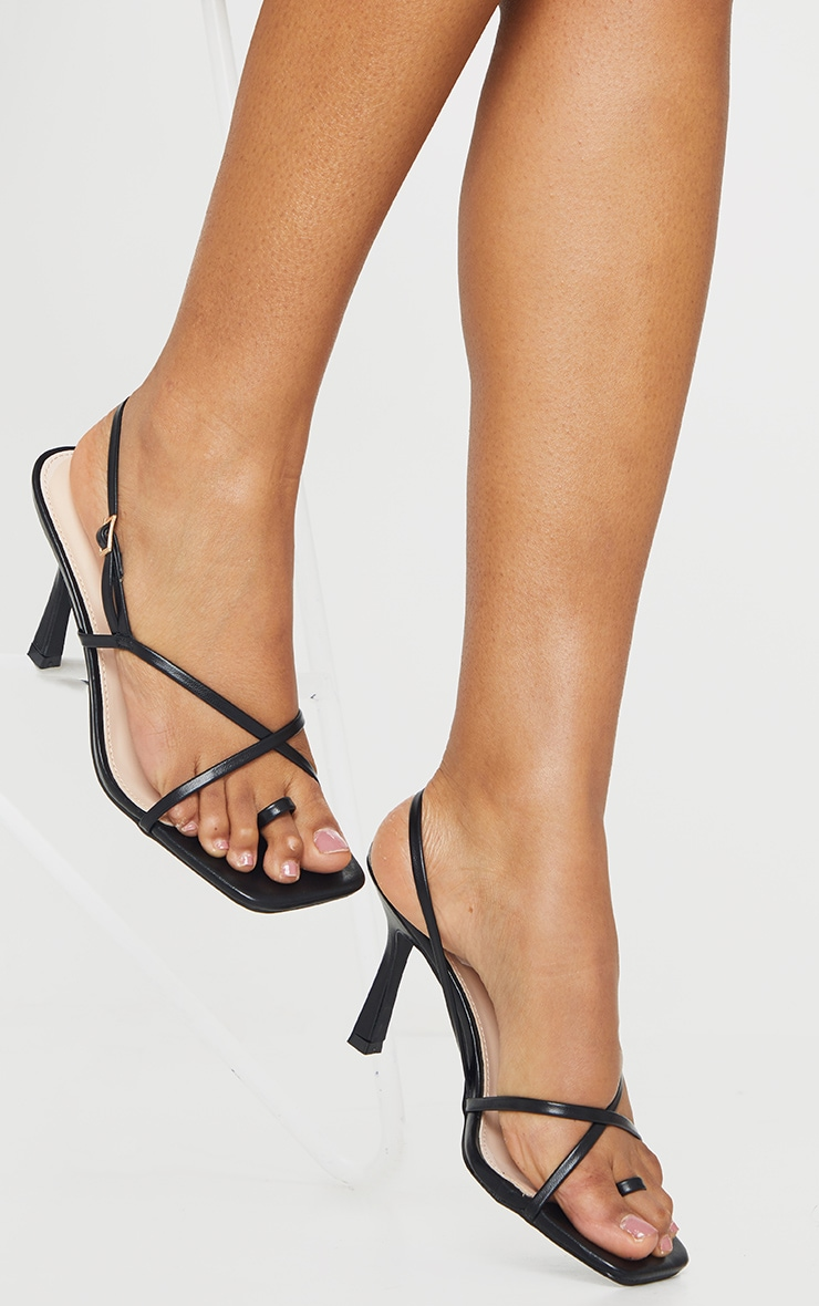 Black Square Toe Strappy Mid Heeled Sandals 2