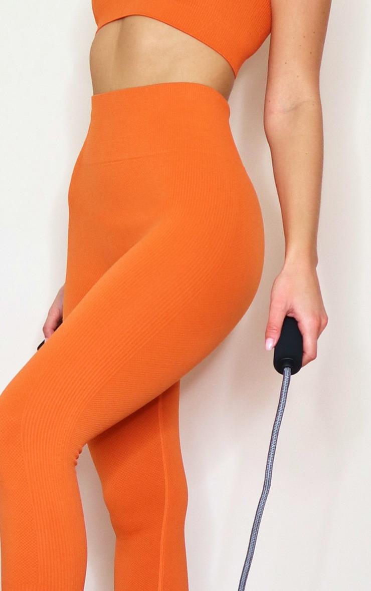 Burnt Orange Textured Seamless High Waist Gym Leggings 4