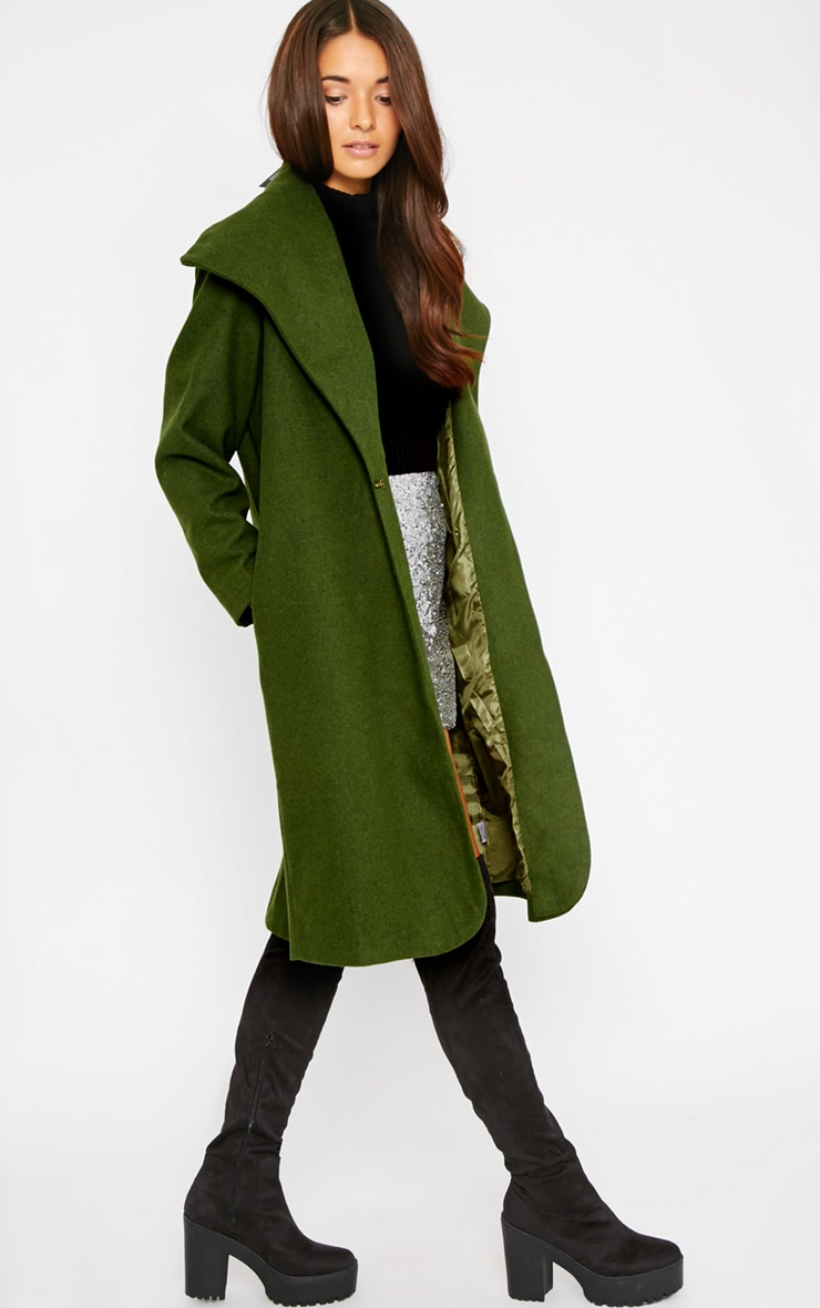 Gaia Green Brushed Wool Premium Waterfall Coat 4