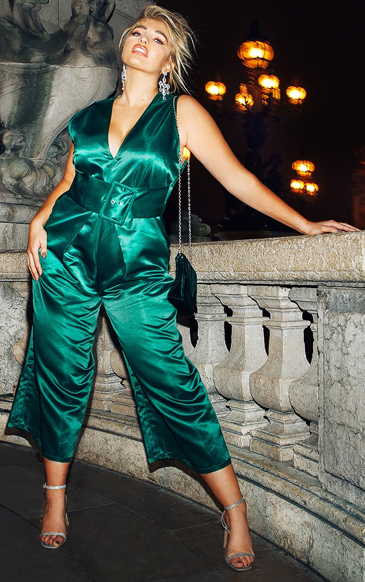 Plus Green Satin Belt Culotte Jumpsuit 1