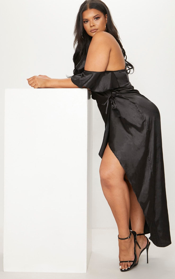 Plus Black Satin Frill Detail Wrap Maxi Dress 4