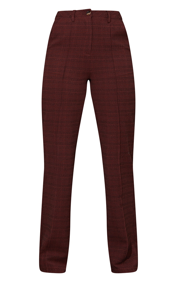 Chocolate Brushed Check Pintuck Detail Straight Leg Pants 5