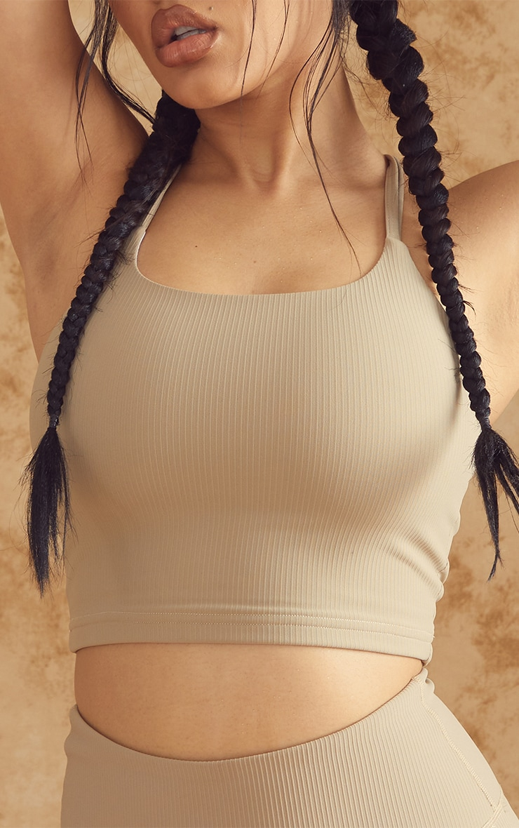 Olive Sculpt Ribbed Textured High Neck Sports Crop Top 4