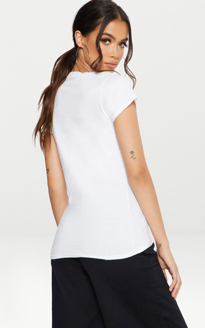 White Lace Up Fitted T Shirt  2