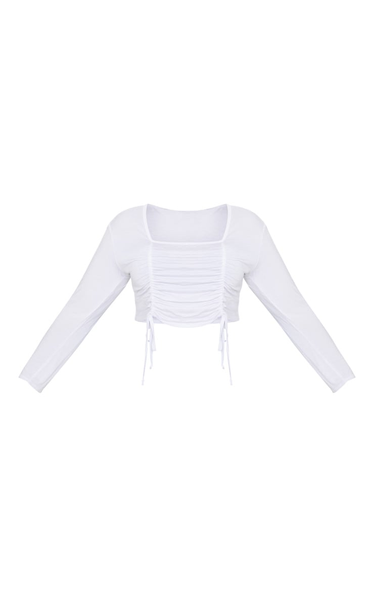 Plus White Jersey Ruched Detail Long Sleeve Crop Top 3