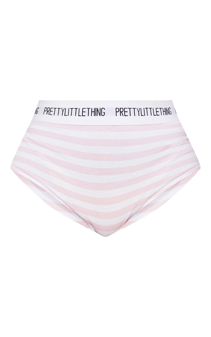 PRETTYLITTLETHING Pink and White Striped High Waisted Knicker 3