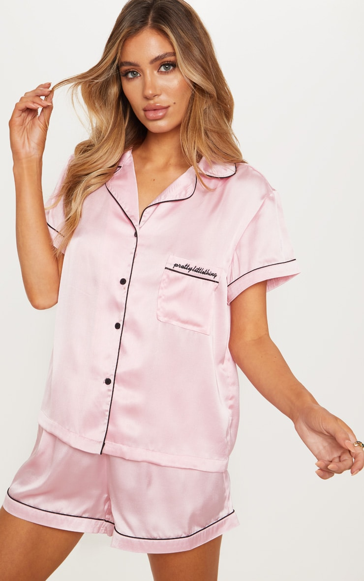 PRETTYLITTLETHING Pink Short Satin Pocket PJ Set 1