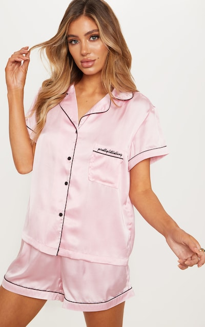 dff9e506f2 PRETTYLITTLETHING Pink Satin Pocket Pyjama Set