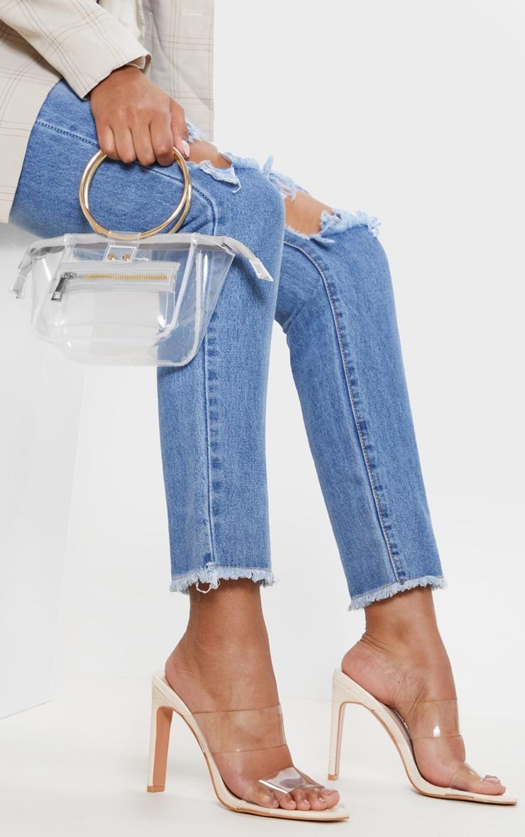 Nude Flat Heel Twin Strap Clear Mule Sandal