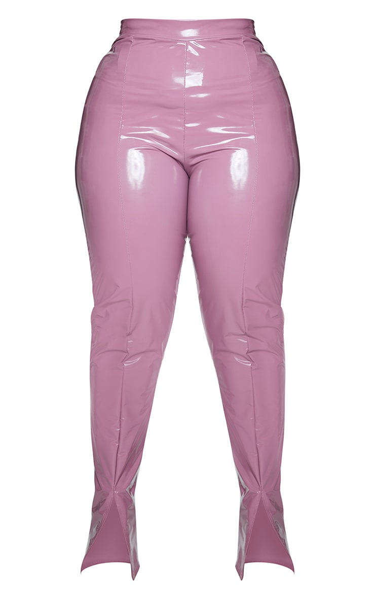 Plus Rose Vinyl Seam Detail Split Hem Pants 5