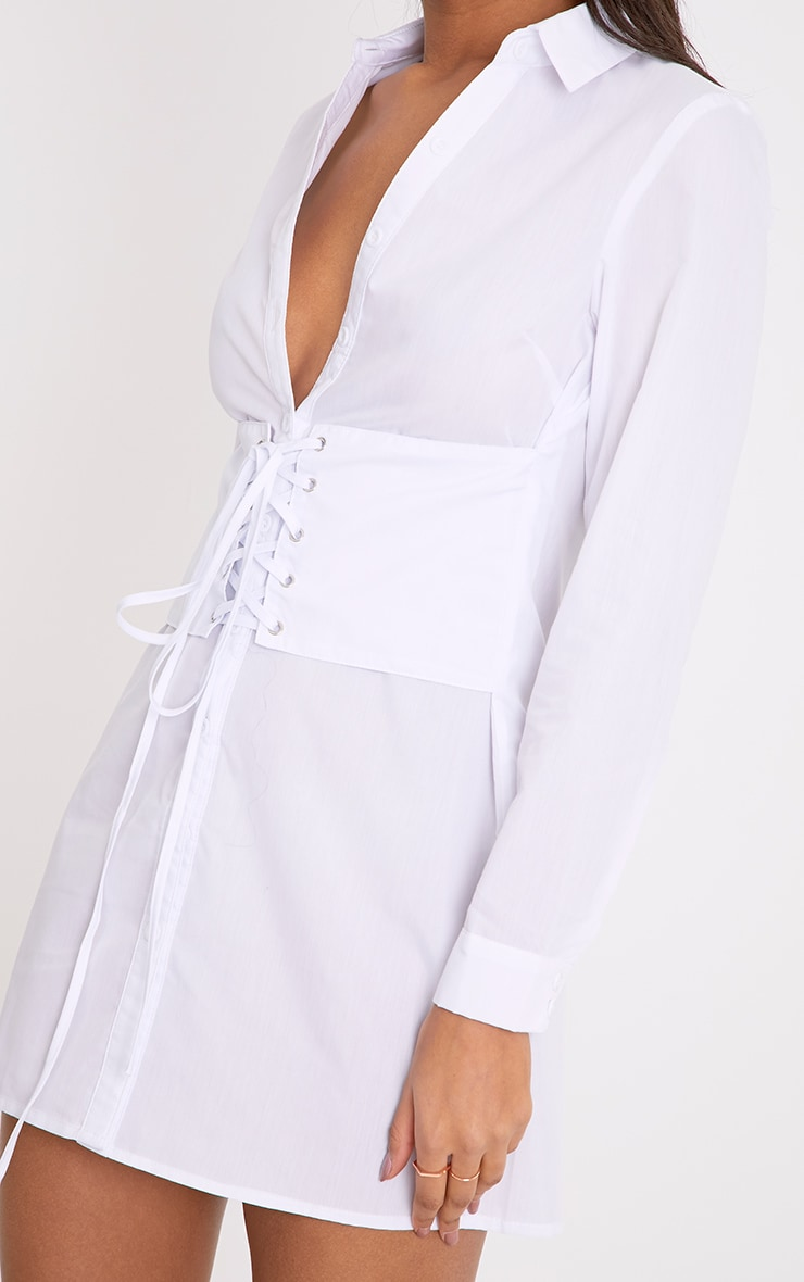 Willow White Corset Lace Up Open Shirt Dress 4