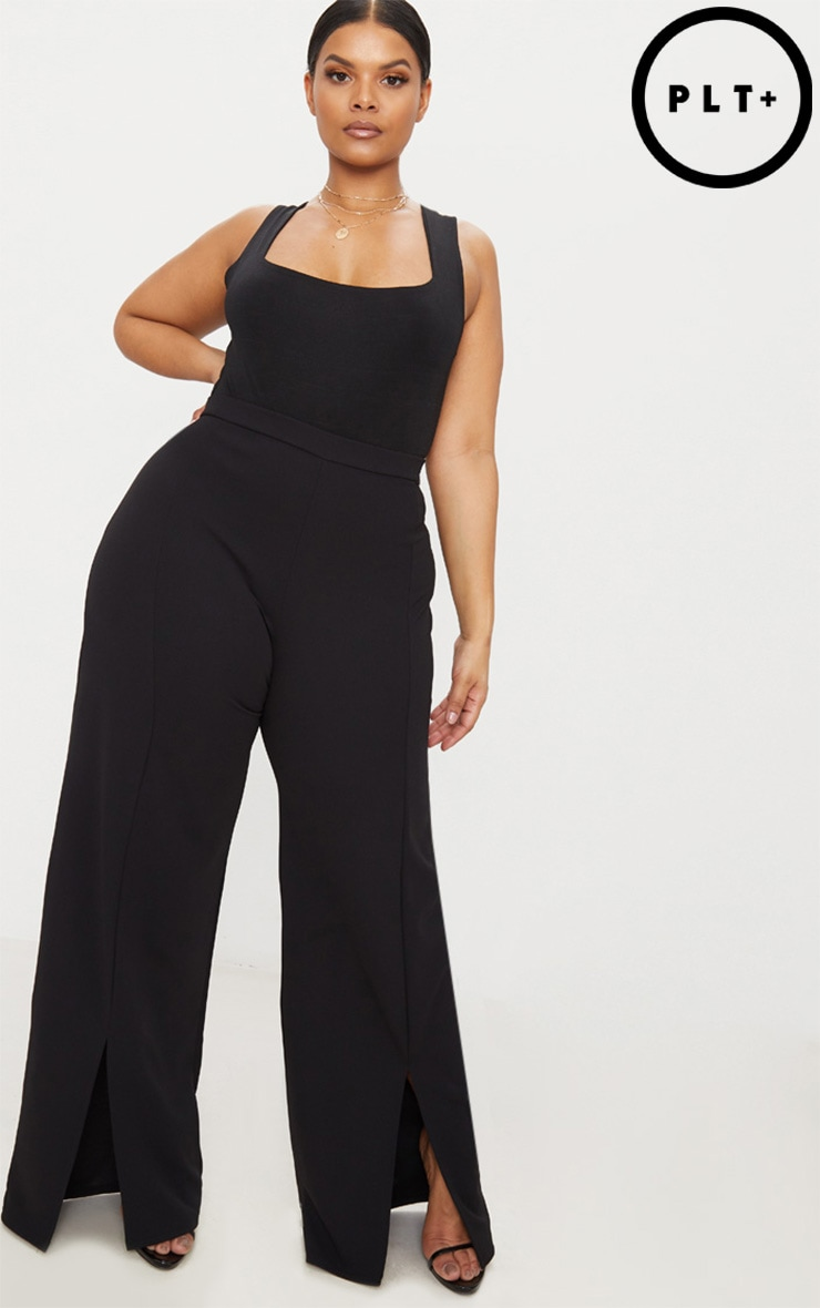 Plus Black Split Hem Straight Leg Trousers 1