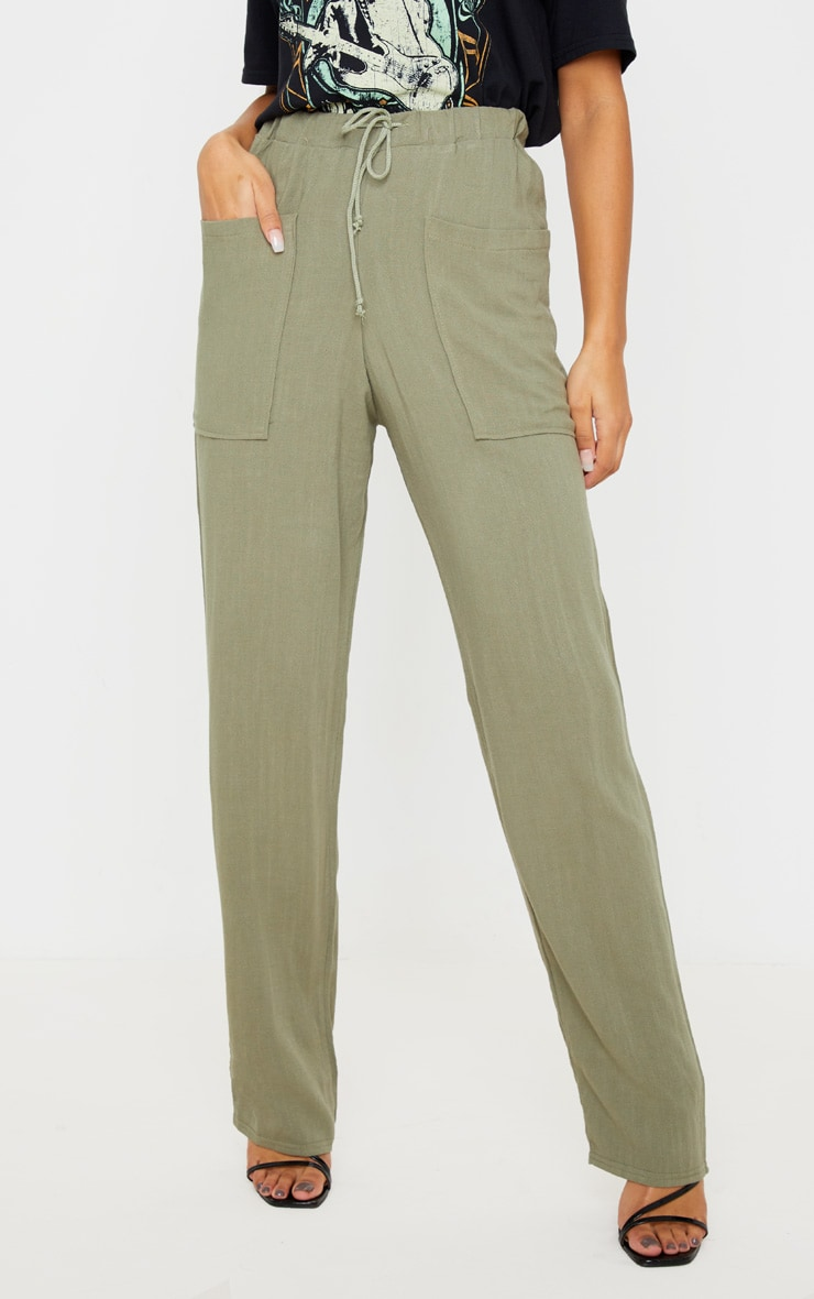 Khaki Drawstring Waist Tapered Pocket Trouser 2