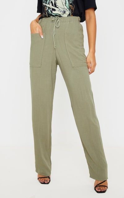 Khaki Drawstring Waist Tapered Pocket Trouser