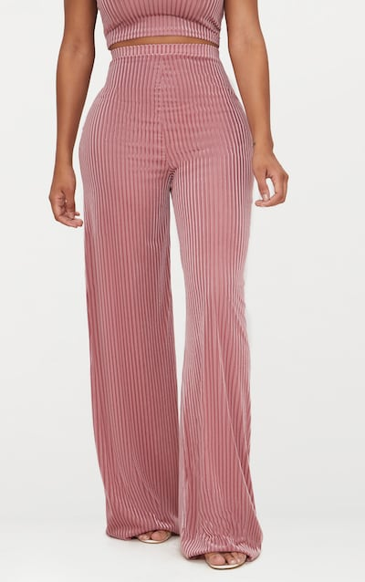 Shape Rose Striped Velvet Wide Leg Trousers