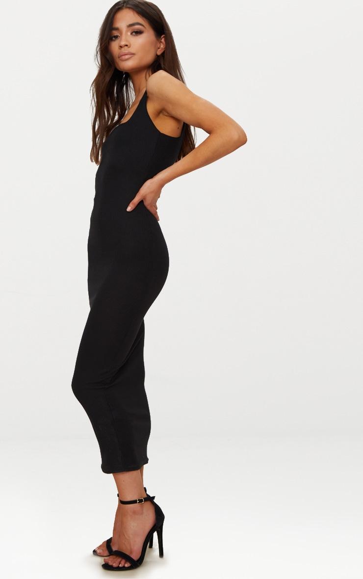 Petite Black Ribbed Square Neck Midi Dress 3