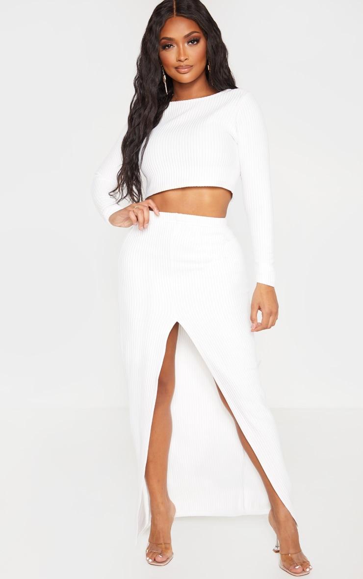 Shape Cream Jumbo Rib Split Front Midaxi Skirt 1