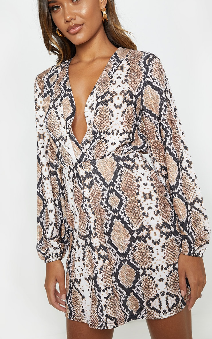 Tan Snake Print Plunge Shift Dress 6