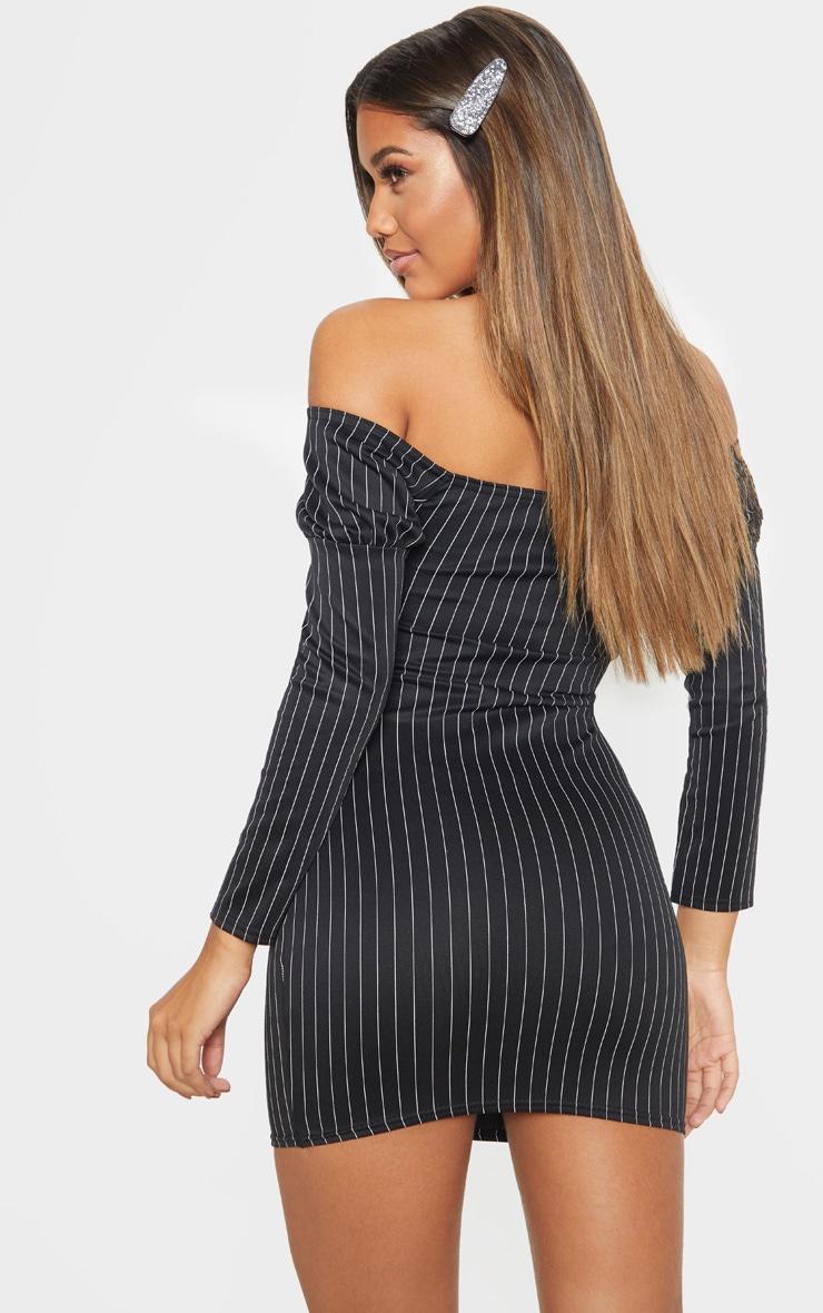 Black Pinstripe Bardot Hook & Eye Bodycon Dress 2